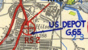 US Depot G65 at Hilsea Barracks shown on a 1944 map of Marshalling Area A.