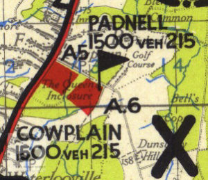 Padnell and Cowplain shown on a 1944 map of Marshalling Area A. The red areas show where troops were camped.