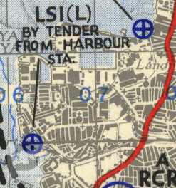 Portsmouth Dockyard shown on a 1944 map of Marshalling Area A.