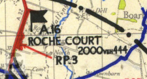 Roche Court shown on a map of Marshalling Area A. The red area shows where troops were camped.