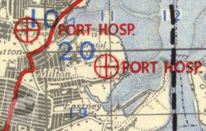 St Marys and James Hospitals shown on a 1944 map of Marshalling Area A.