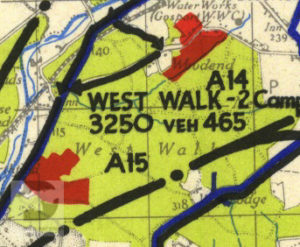 West Walk shown on a 1944 map of Marshalling Area A. The red areas show where troops were camped.